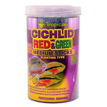 Ração P/ Peixe Cichlid Red&green Medium Sticks 1000ml 360g