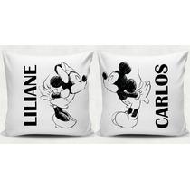 Almofada Mickey E Minnie Personalizada Com Nome - 2 Unidades