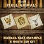 Kit Com 3 Almofadas Pixel Animal Decorativas Personalizadas