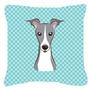 Checkerboard Azul Italian Greyhound Canvas Tecido Decorativa