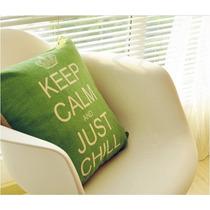 Almofada Verde Keep Calm And Carry On 41x41cm Sem Enchimento