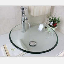 Cuba Vidro Banheiro E Valvula Clic - Cuba Redonda Inc 42x42