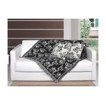 Kit Manta Decorativa Para Sofa Floral Com 2 Capa De Almofada