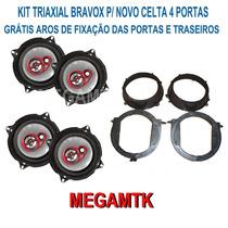 Kit Alto-falantes Bravox B3x Triaxial P/ Novo Celta/prisma