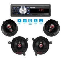 Kit Auto Falante Gol G4 06 07 08 + Radio Mp3 Usb 4 Portas
