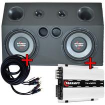 Caixa Trio Dupla Subwoofer + Amplificador Digital Taramps