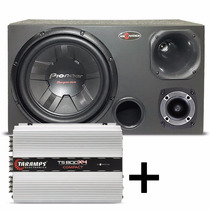 Caixa Trio Subwoofer Pioneer 400w + Modulo Taramps Ts800 X4