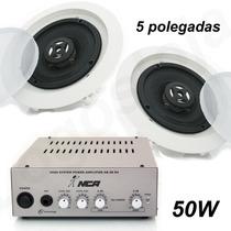 Kit Música Som Ambiente Amplificador Caixa Acústica Arandela