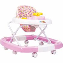 Andador Balanço Regulável Som 8 Rodas Infantil Bebê Rosa