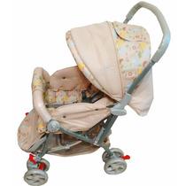 Carrinho De Bebê Tipo Berço 3 Posições Reversível Bege