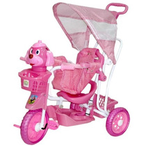 Triciclo Infantil Carrinho De Passeio Bebê Rosa Com Capota