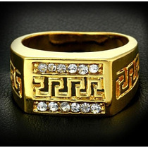 Anel Masculino Aro 25 Banhado Em Ouro Com Cristais - J1439