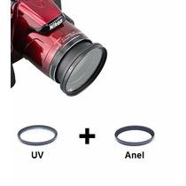 Kit Anel Adaptador + Uv Nikon P600 P610 Filtro Lente Uv 58mm