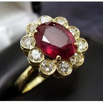 Anel Maravilhoso Em Ouro 18k Legitimo , Diamantes E Rubi !