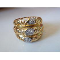 Anel Em Ouro 18 Kilates E Diamantes