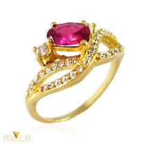 Anel De Ouro Rubí 8x5 Oval E 2 Diamantes De 2 Pontos An078