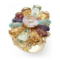 Anel Flor Em Ouro18k Amarelo Pedras Brasileiras E Brilhantes