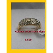 Anel C/ Brilhante Mais Barato Folheado A Ouro Gj B3