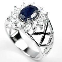 Joalheriavip Anel De Prata 925 Com Safira Azul Natural