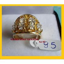 Anel C/ Brilhante Mais Barato Ouro 18k Com 10 Camadas Gj 95
