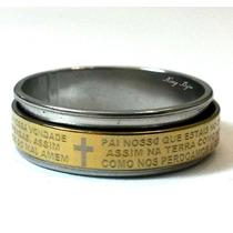 Anel Oração Pai Nosso Giratório Aço Cirúrgico Inox Folheado!