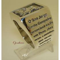 Anel Em Prata 950k São Jorge Com Oração Lindíssimo