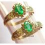 Anel De Formatura/ Grau Esmeralda Natural Ouro 18k Diamantes