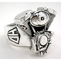 Anel Motociclista Motor Harley Hd (prata De Lei 950)