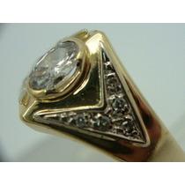 Anel De Ouro 18k 750 Com Diamantes Jr Joalheiro