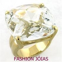 Anel Banhado A Ouro 18k Com Zirconia - Fashion Jóias - Luxo