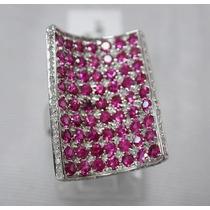 Anel Em Ouro Branco 18k +rubis E Diamantes!!!