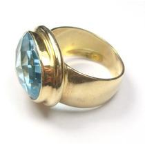 Joalheriavip Anel Topázio Natural Swiss Blue Ouro 18k