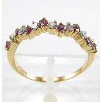 Esfinge Jóias - Anel Diamantes E Rubis Aro17 Ouro 18k 750.