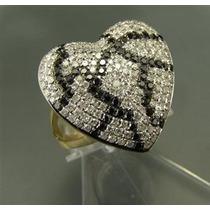 Anel Coração Em Ouro 18 K Com Brilhantes Brancos E Negros !!