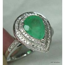 Lindo Anel Pera De Esmeralda E Diamante Ouro 18k