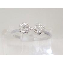 Boqueiraojoias Anel 2 Diamantes 1,0ct Ouro Branco 18k-750