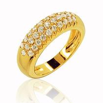 Anel Bombé Ouro Amarelo18k Mais Diamantes De 1,5 Pontos!!
