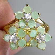 Esmeralda Africana E Zircônia-anel Em Prata 925-ouro14k