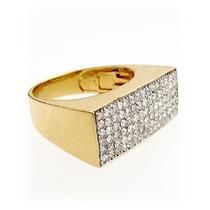 Anel Em Ouro Amarelo 18 Quilates Mais Diamantes De 1 Ponto