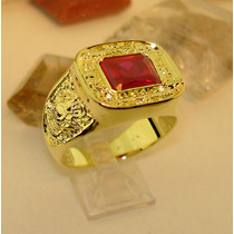 Anel De Direito Pedra Vermelho Rubi Banho De Ouro Lindo