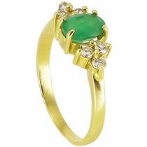 Anel Ouro Amarelo 18 Quilates Mais Esmeralda E Diamantes.