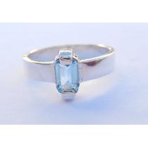 Anel Em Prata 950 Com Topazio Azul. Melhor Preço Do Ml ...