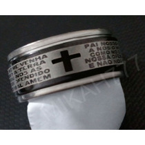 Anel Giratório Preto Oração Pai Nosso - Aço Inox Maciço 10mm