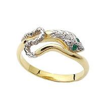 Anel Serpente Ouro Amarelo 18k Com Esmeralda