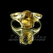Lindo Anel Ouro 18k E Citrino Oval Tom Amarelo Ouro +fretgra