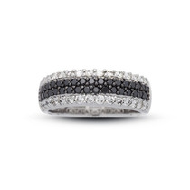 Anel Pavê Em Ouro 18k Mais Diamantes Negros E Brancos