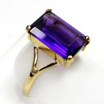 Anel Em Ouro 18k Com Ametista Purpura Retangular