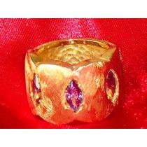 Fabuloso Anel Semi-jóia C/ Banho18k/ametistas,itália,déc.90
