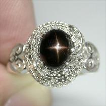 Anel Diopside Estrela Negra Natural Prata 925