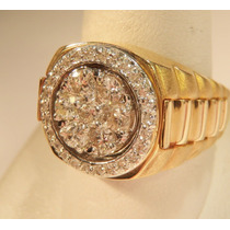 Anel Masculino Em Ouro 18k Com Diamantes Desing Exclusivo